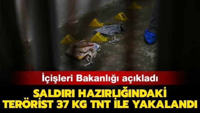 İçişleri Bakanlığı: Saldırı hazırlığındaki terörist 37 kg TNT ile yakalandı