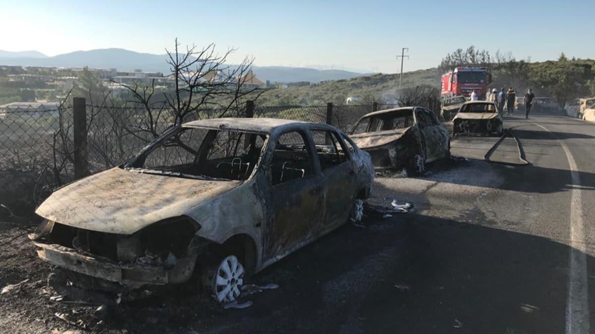 Seferihisar'da otluk alanda yangın çıktı... Onlarca araç yandı!