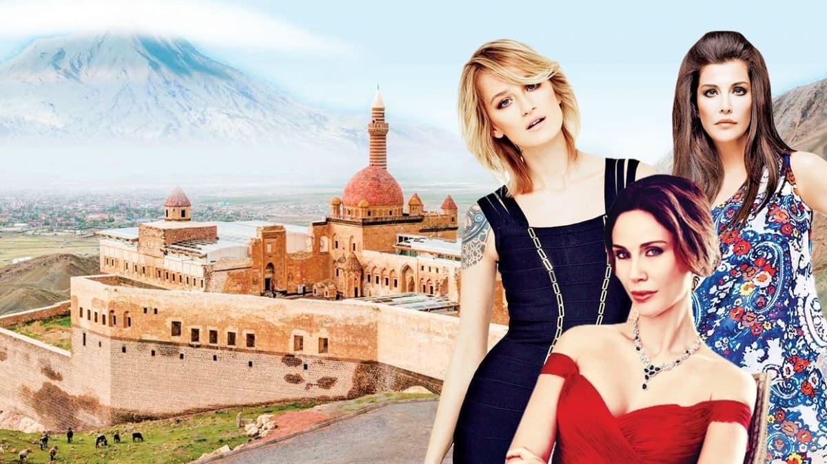 Ağrı Dağı'nda Demet Şener, Didem Soydan ve Deniz Akkaya'lı Dosso Dossi Fashion Show kapsamında tarihi defile