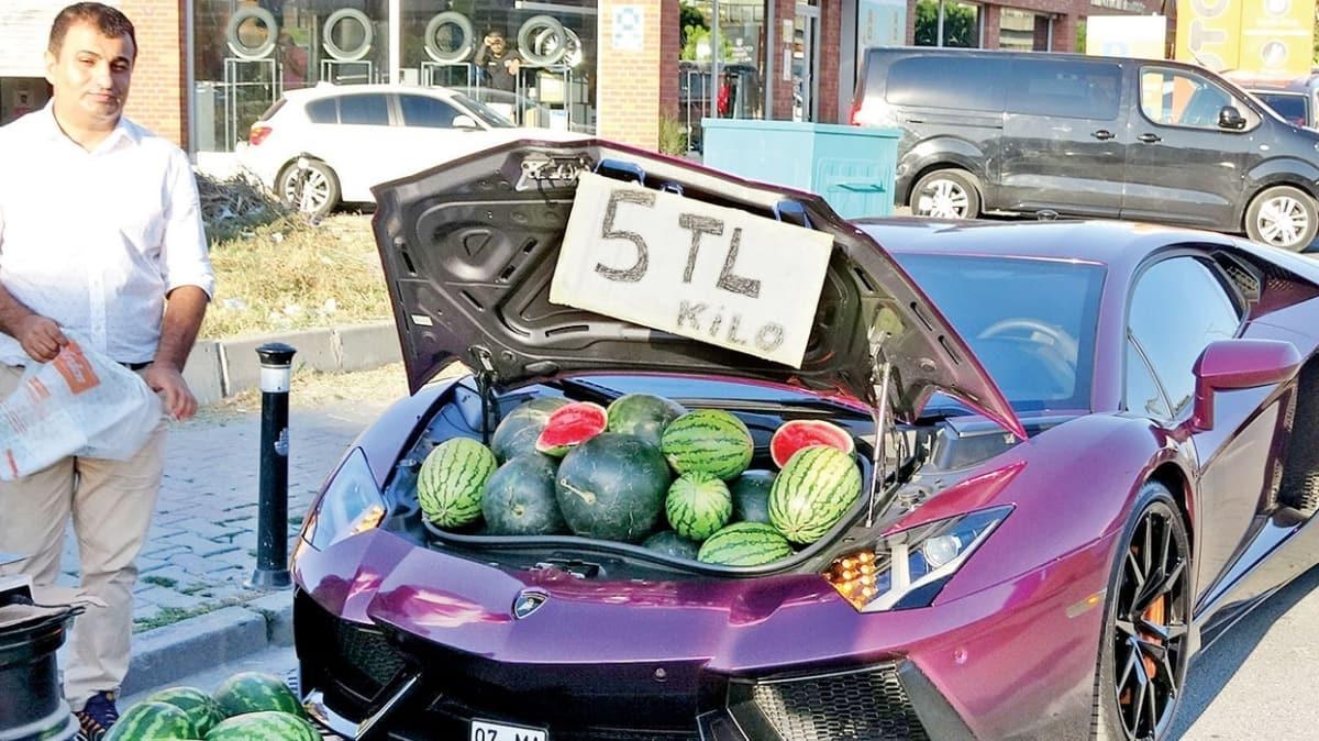 Lamborghini bagajında 5 liraya karpuz sattı