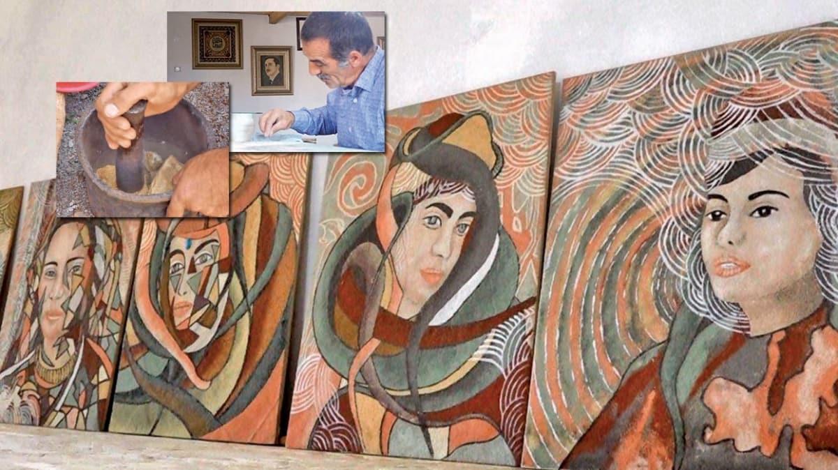 Bingöl'den Paris'e sanat! Taşları ezip yaptığı tablolar Avrupa'da satılıyor