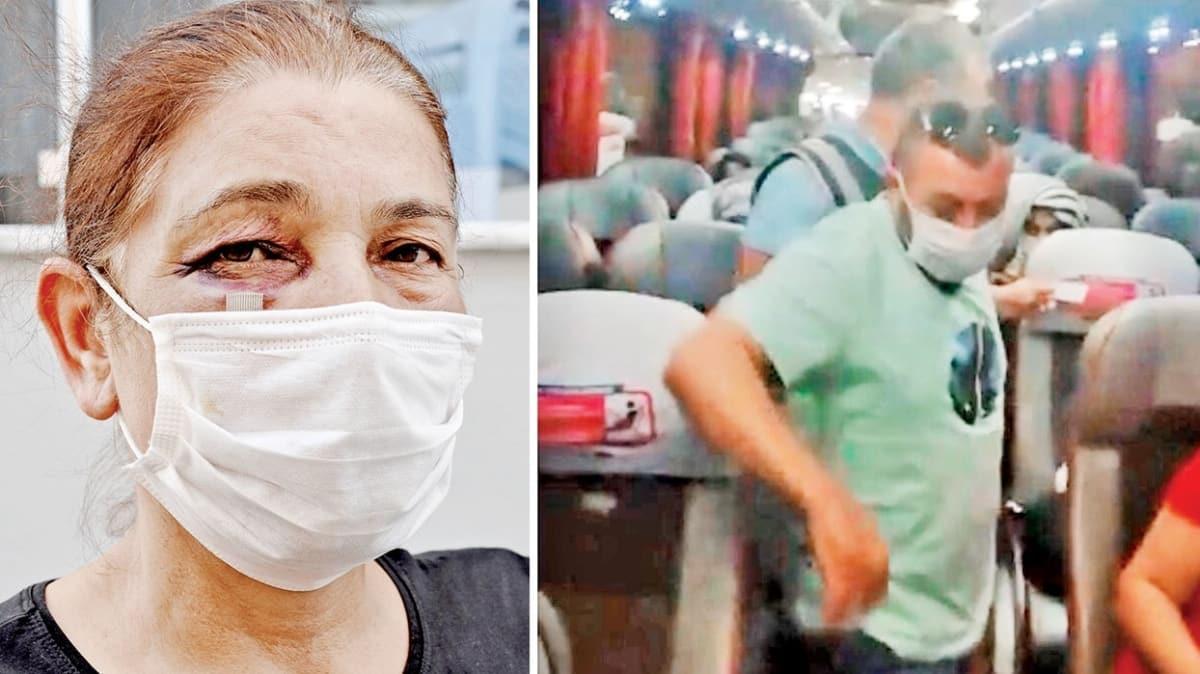 Tacizci saldırgana otobüste kelepçe