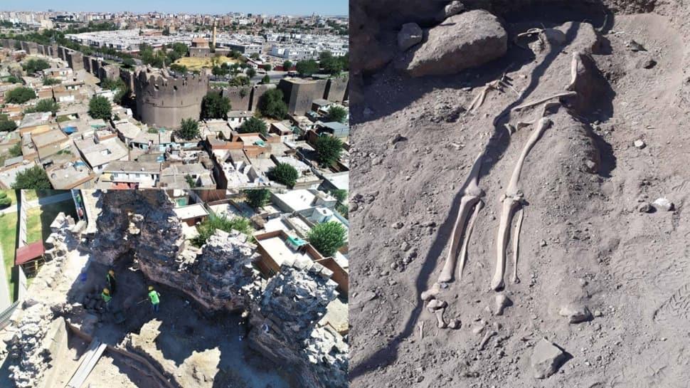 Diyarbakır surlarında Orta Çağ'a ait olduğu tahmin edilen insan iskeletleri bulundu