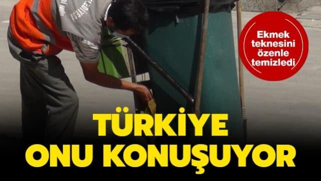 Türkiye onu konuşuyor! Ekmek teknesini özenle temizledi