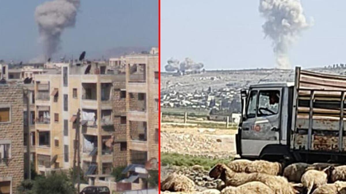İdlib kenti güneyi, Rus savaş uçakları tarafından bombalanıyor