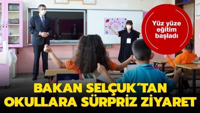 Milli Eğitim Bakanı Selçuk'tan yüz yüze eğitime başlayan okullara sürpriz ziyaret