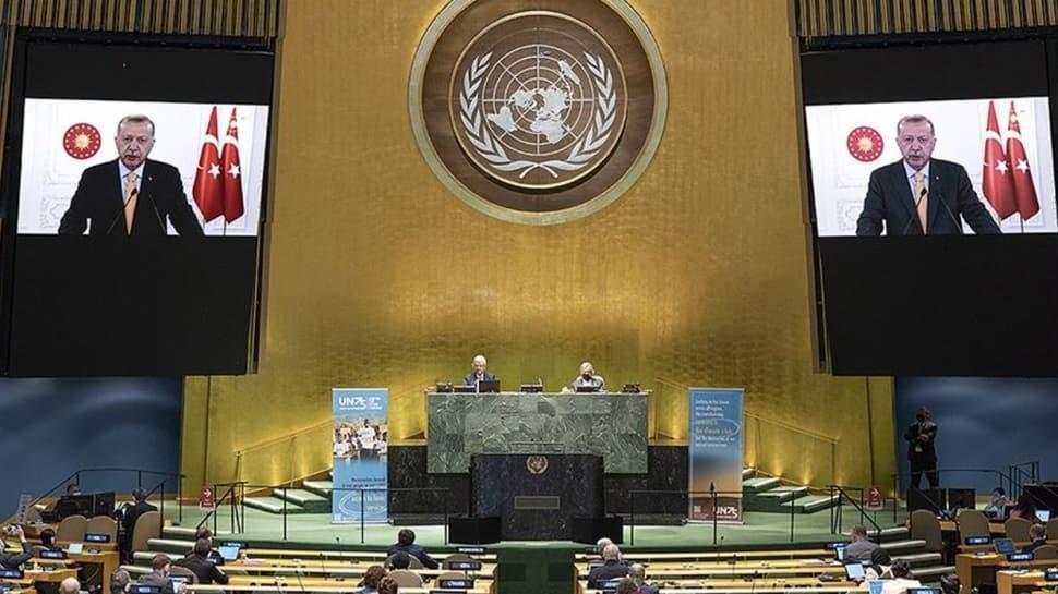 Başkan Erdoğan İsrail'i eleştirdi... BM'de İsrail Büyükelçisi salonu terk etti