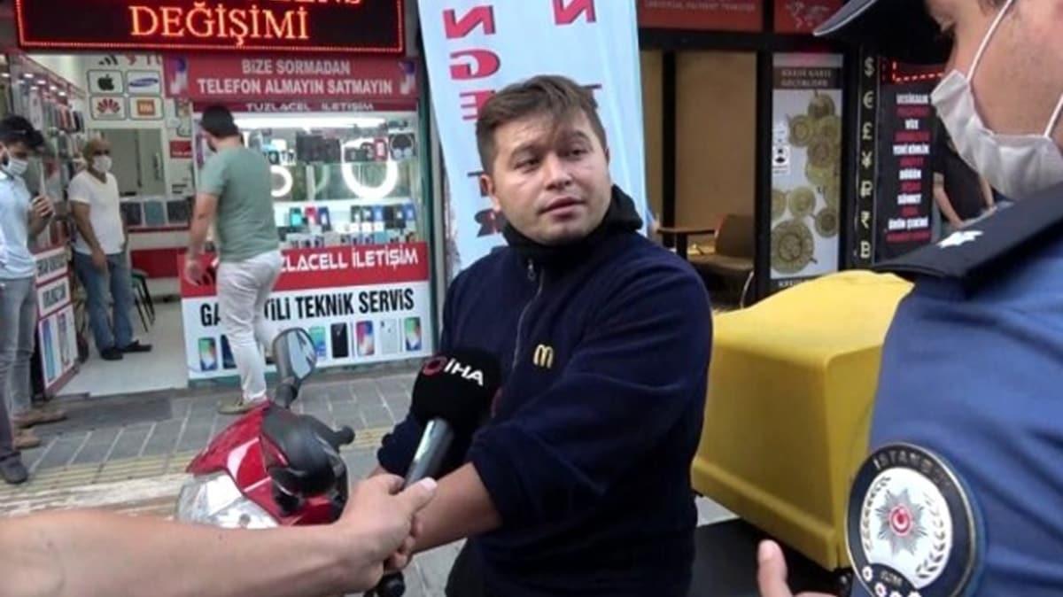Maskesiz motor sürücüsü polisi tehdit etti: Bana teşkilatın numarasını gönderin
