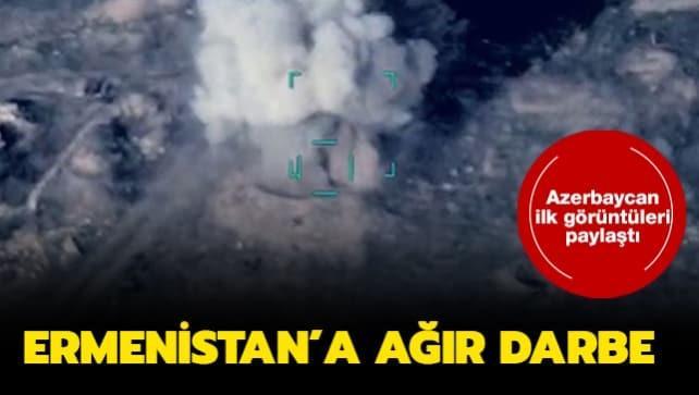 Azerbaycan ilk görüntüleri paylaştı: Ermeni hedeflerini böyle vurdu