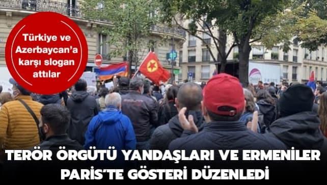 Paris'te terör örgütü PKK yandaşları ve Ermeniler, Türkiye-Azerbaycan karşıtı gösteri düzenledi