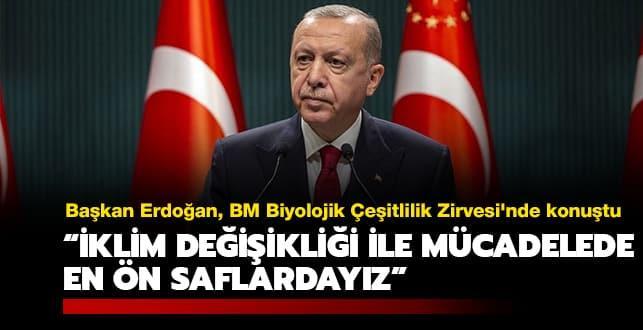 Başkan Erdoğan, BM Biyolojik Çeşitlilik Zirvesi'ne video mesaj gönderdi: İklim değişikliği ile mücadelede en ön saflardayız