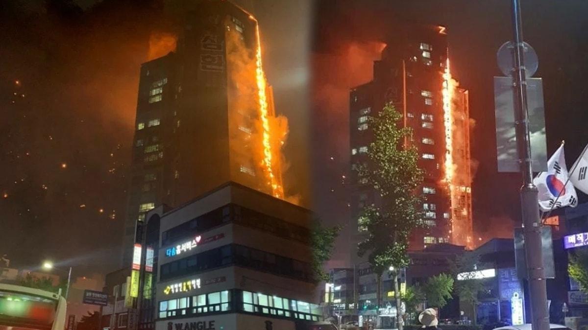 Güney Kore'nin Ulsan kentinde bir gökdelende yangın çıktı
