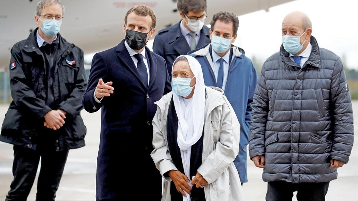 Macron'a havaalanında sürpriz! Sophie'yi bekliyordu ama 'Meryem' geldi