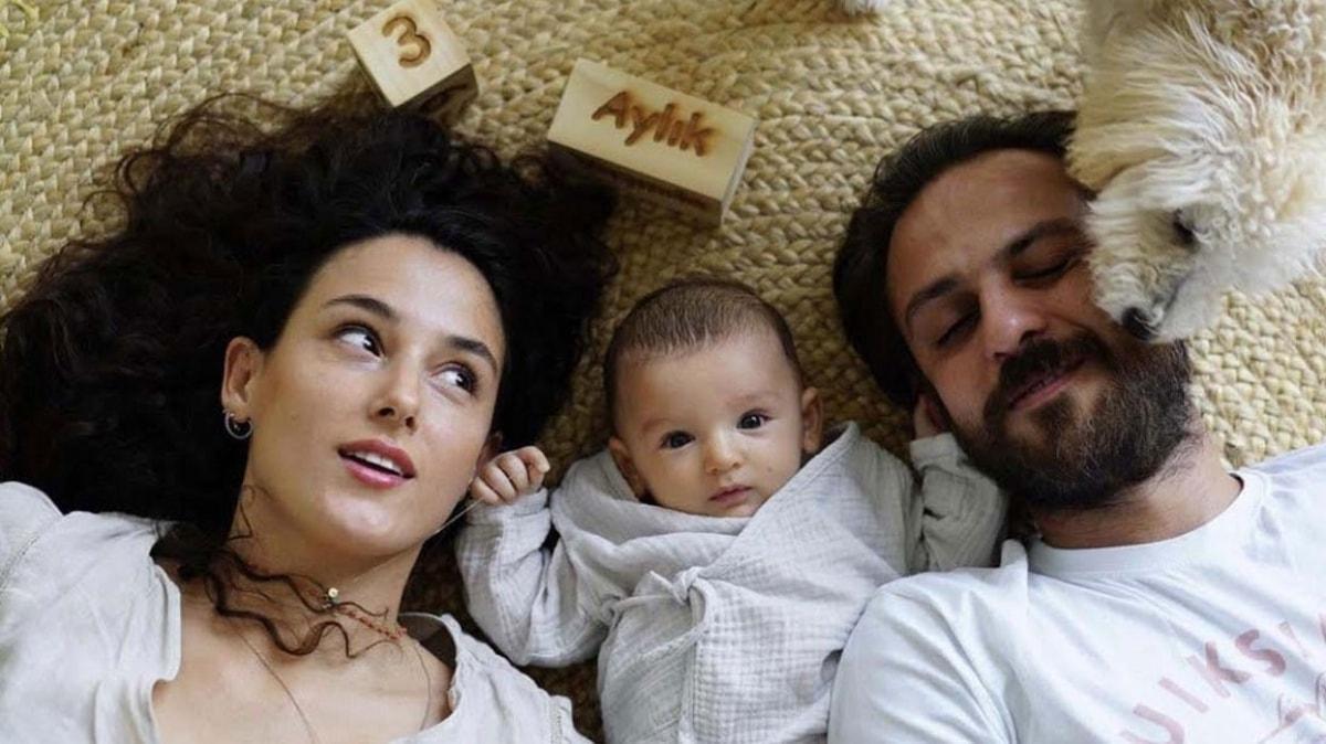 Cansu Tosun ve eşi Erkan Kolçak Köstendil'in oğulları Marsel ile 3. ay pozu
