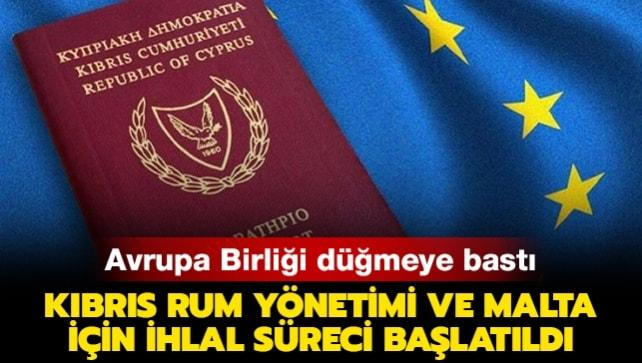 AB, Kıbrıs Rum yönetimi ve Malta için ihlal süreci başlattı