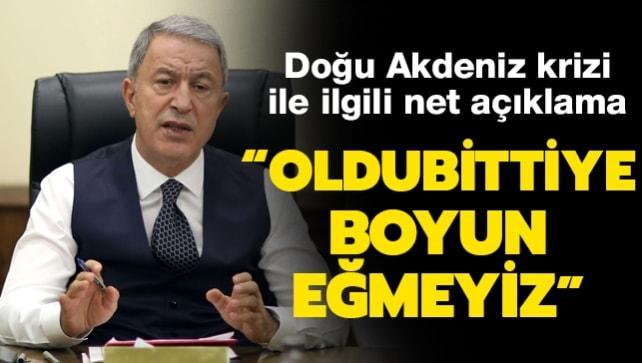 Bakan Akar'dan Türkiye-Yunanistan görüşmeleri ile ilgili önemli açıklama: Oldubittiye boyun eğmeyeceğimizi herkes anlamalı