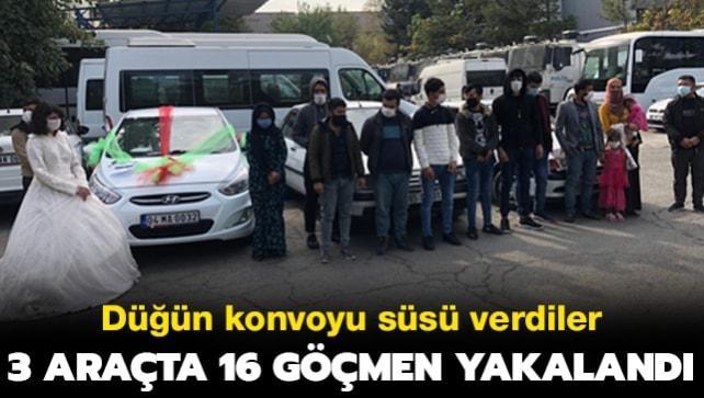 Düğün konvoyu süsü verdiler... 3 araçta 16 göçmen yakalandı