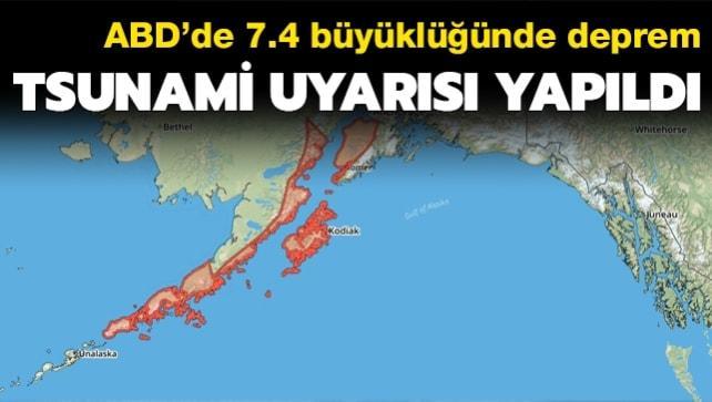 ABD Alaska'da 7.4 büyüklüğünde deprem!