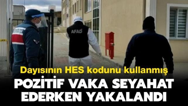 Kastamonu'da Kovid-19 testi pozitif olan vaka dayısının HES koduyla seyahat ederken yakalandı