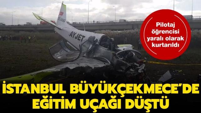 Büyükçekmece'de eğitim uçağı düştü: Pilotaj öğrencisi yaralı olarak kurtarıldı