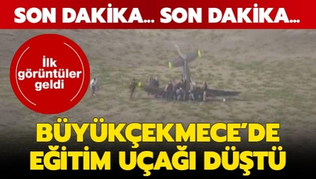 Son dakika haberi... İstanbul Büyükçekmece'de eğitim uçağı düştü