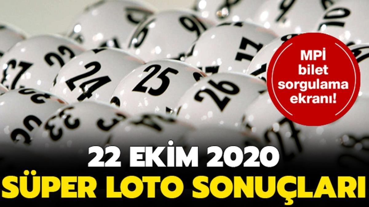 Süper Loto 22 Ekim 2020 sonuçları yayında...
