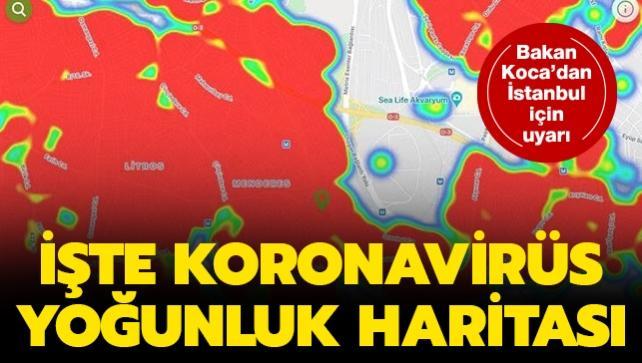 İstanbul'un ilçelerinin koronavirüs yoğunluk haritası