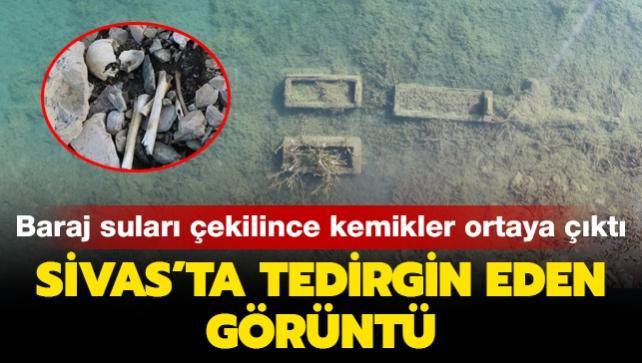 Sivas'ta tedirgin eden görüntü: Baraj suları çekilince kemikler ortaya çıktı