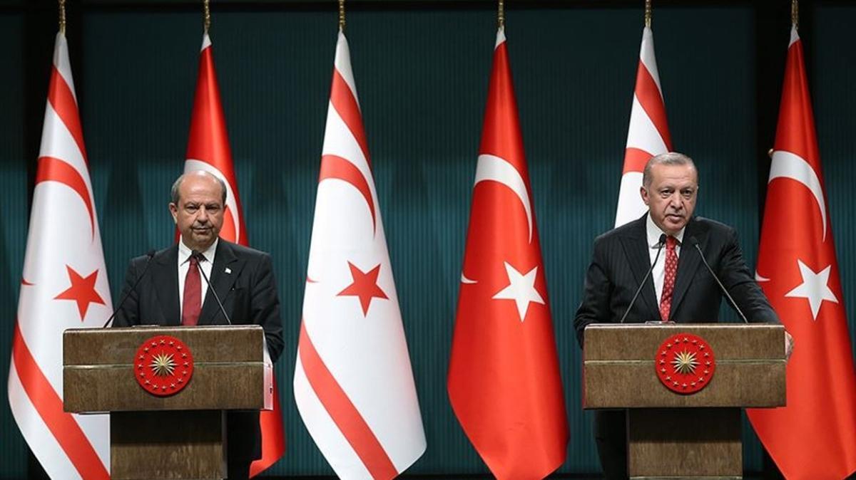 Başkan Erdoğan, KKTC Cumhurbaşkanı Tatar ile ortak basın toplantısı düzenledi