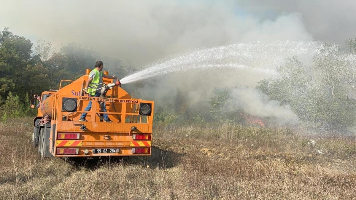 Samsun'da çıkan orman yangınına müdahale ediliyor