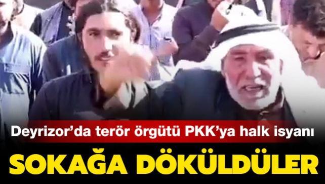 Suriye'de terör örgütü PKK işgalindeki kasabada halk sokağa döküldü
