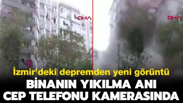İzmir'de deprem sonrası bir binanın yıkılma anı cep telefonu kamerasında