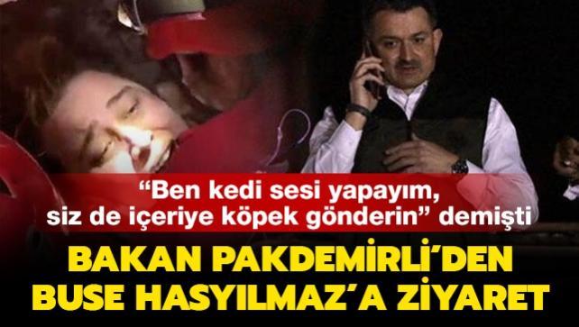 Bakan Pakdemirli, enkaz altıyken telefonla konuştuğu Buse Hasyılmaz'ı hastanede ziyaret etti