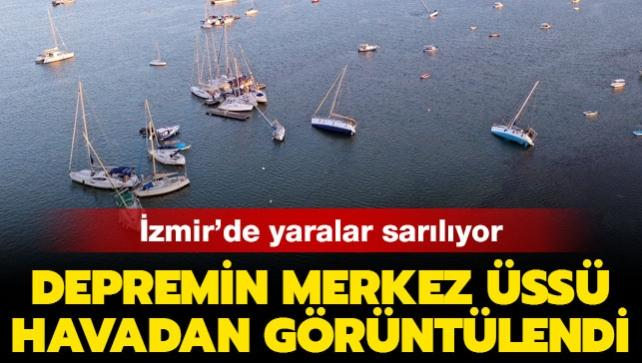 İzmir'de yaralar sarılıyor: Depremin merkez üssü Seferihisar havadan görüntülendi