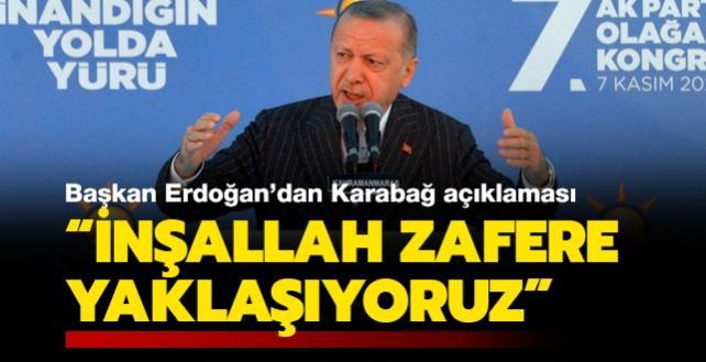 Başkan Erdoğan'dan Karabağ açıklaması: İnşallah zafere yaklaşıyoruz