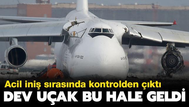 Rusya'da dev kargo uçağı acil iniş sırasında kontrolden çıkarak kırıma uğradı