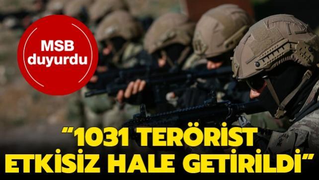 MSB: 2020 yılında 1031 terörist etkisiz hale getirildi