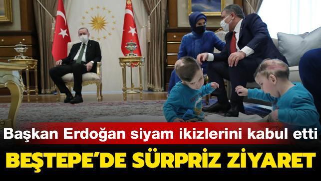 Başkan Erdoğan ameliyatla birbirlerinden ayrılan Siyam ikizleri Derman ve Yiğit'i kabul etti