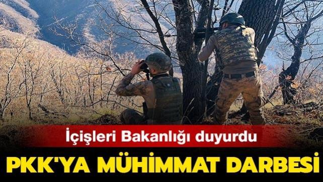Hakkari'de terör örgütü PKK'ya mühimmat darbesi