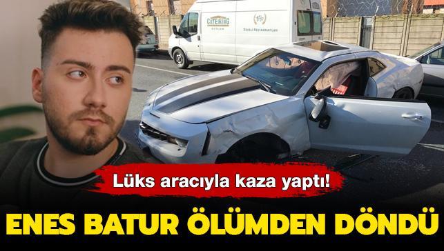 Arabasıyla ağaca çarpıp takla attı... Enes Batur ölümden döndü!