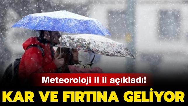 Meteoroloji il il açıkladı! Kar ve fırtına geliyor