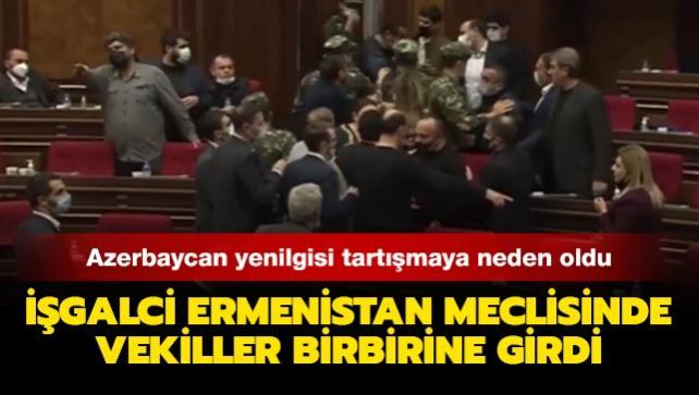 İşgalci Ermenistan Meclisinde vekiller birbirine girdi... Azerbaycan yenilgisi tartışmaya neden oldu