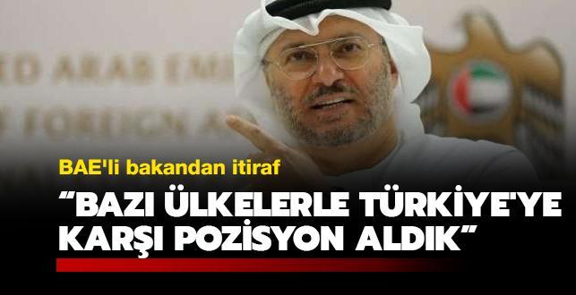 BAE'li bakandan itiraf: Bazı ülkelerle Türkiye'ye karşı pozisyon aldık