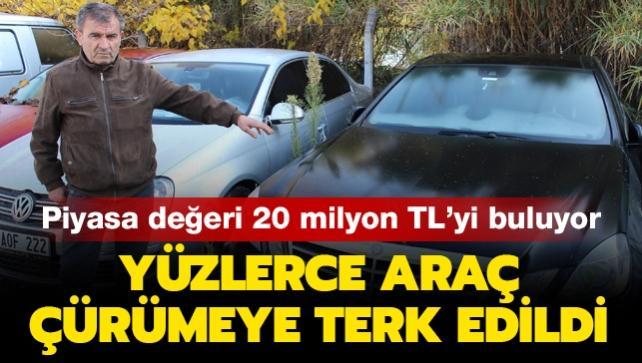 Piyasa değeri 20 milyon TL'yi buluyor: Yüzlerce araç çürümeye terk edildi