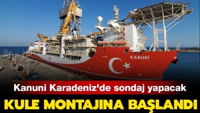 Türkiye'nin üçüncü büyük sondaj gemisi 'Kanuni'nin kule montajına başlandı