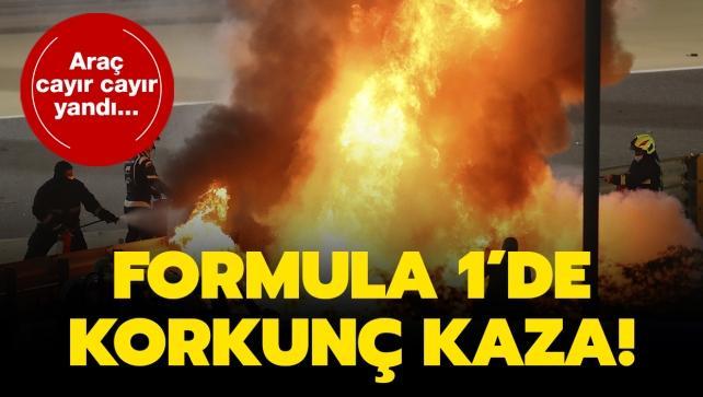 Formula 1'de korkunç kaza! Araç cayır cayır yandı...