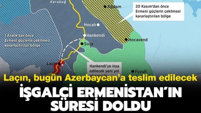 İşgalci Ermenistan'ın süresi doluyor: Laçın'ı bugün terk etmeli...