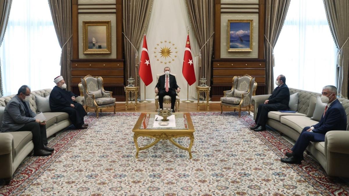 Başkan Erdoğan, Mescid-i Aksa İmam Hatibi Şeyh Sabri'yi kabul etti
