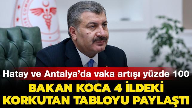Hatay ve Antalya'da vaka artışı yüzde 100: Bakan Koca 4 ildeki korkutan tabloyu paylaştı