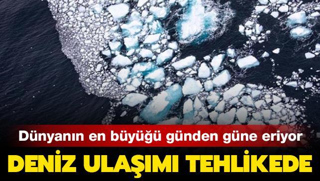 Dünyanın en büyük buz dağı günden güne yok oluyor! Erime anı böyle görüntülendi...